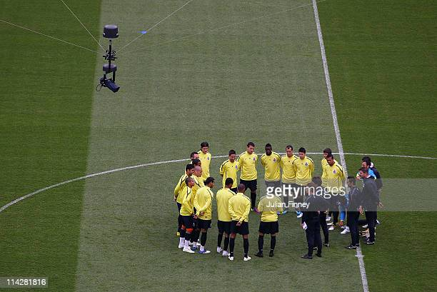 Porto Head Coach Andre Villas Boas gives instructions to his team during a FC Porto training session ahead of their UEFA Europa League Final against...
