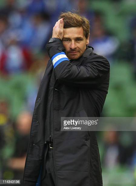 Porto Head Coach Andre Villas Boas looks on during the UEFA Europa League Final between FC Porto and SC Braga at Dublin Arena on May 18 2011 in...