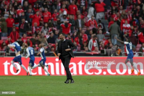 Porto head coach Sergio Conceicao from Portugal celebrates Porto goal scored by FC Porto midfielder Hector Herrera from Mexico during the Portuguese...