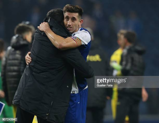 Porto head coach Sergio Conceicao from Portugal celebrates with FC Porto midfielder Hector Herrera from Mexico the victory at the end of the Primeira...