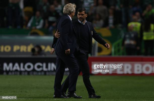 Porto head coach Sergio Conceicao from Portugal congratulates Sporting CP head coach Jorge Jesus from Portugal at the end of the Portuguese Cup match...
