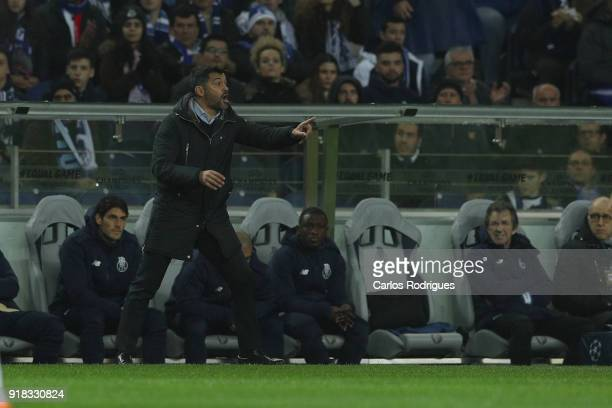 Porto head coach Sergio Conceicao from Portugal during the UEFA Champions League Round of 16 First Leg match between FC Porto and Liverpool at...