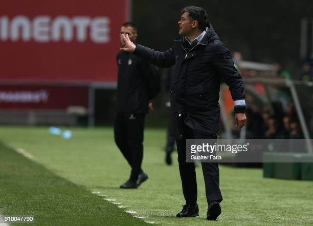 Porto head coach Sergio Conceicao from Portugal in action during the Taca da Liga Semi Final match between Sporting CP and FC Porto at Estadio...