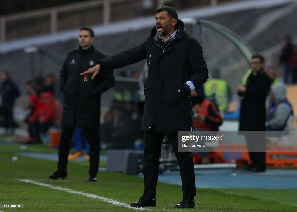 FC Porto head coach Sergio Conceicao from Portugal in action during the Primeira Liga match between GD Estoril Praia and FC Porto at Estadio Antonio Coimbra da Mota on February 21, 2018 in Estoril, Portugal.