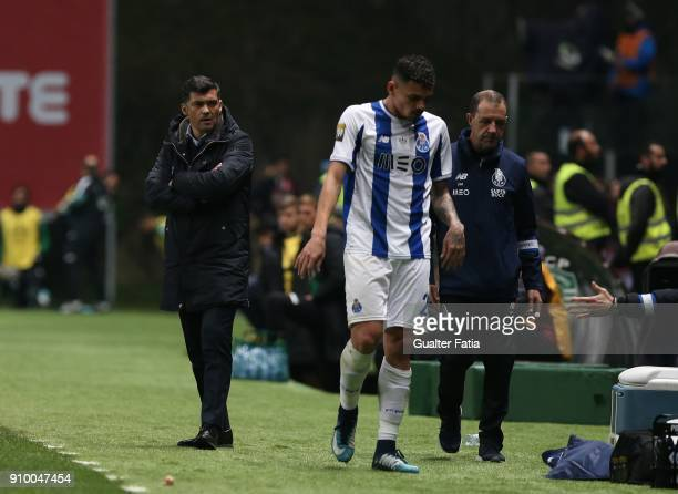 Porto head coach Sergio Conceicao from Portugal reaction after FC Porto forward Tiquinho Soares from Brazil leaves the pitch during the Taca da Liga...