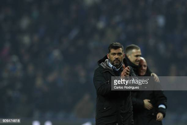 Porto head coach Sergio Conceicao from Portugal thanks Porto supporters at the end of the Portuguese Primeira Liga match between FC Porto and...