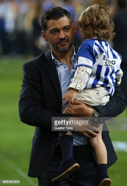Porto head coach Sergio Conceicao from Portugal with his family during the Championship celebrations at the end of the Primeira Liga match between FC...