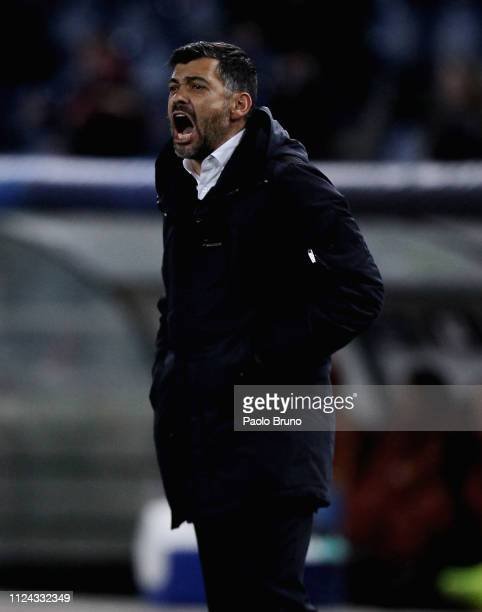 Porto head coach Sergio Conceicao reacts during the UEFA Champions League Round of 16 First Leg match between AS Roma and FC Porto at Stadio Olimpico...