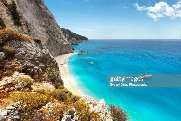 porto katsiki beach in lefkada island, greece - mediterranean sea stock pictures, royalty-free photos & images