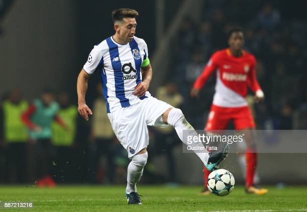 Porto midfielder Hector Herrera from Mexico in action during the UEFA Champions League match between FC Porto and AS Monaco at Estadio do Dragao on...