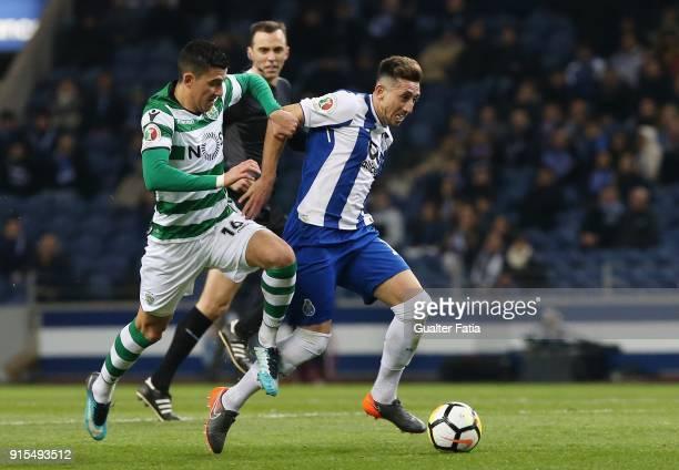 Porto midfielder Hector Herrera from Mexico with Sporting CP midfielder Rodrigo Battaglia from Argentina in action during the Portuguese Cup Semi...