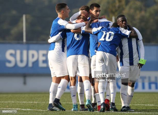 Porto midfielder Rui Pires celebrates with teammates after scoring a goal during the UEFA Youth League match between FC Porto and AS Monaco at Centro...