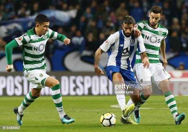 Porto midfielder Sergio Oliveira from Portugal with Sporting CP midfielder Bruno Fernandes from Portugal and Sporting CP midfielder Rodrigo Battaglia...