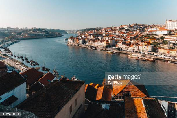 porto old town cityscape and douro river at sunny day - porto portugal stock pictures, royalty-free photos & images