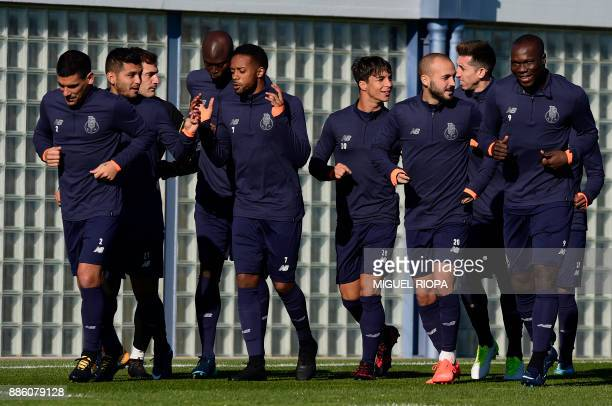 FC Porto players attend a training session at the Olival Training Centre in Vila Nova de Gaia outskirts of Porto on December 5 on the eve of their...