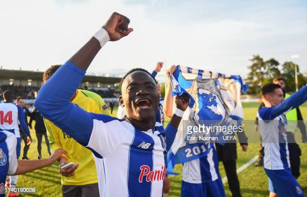 Porto players celebrate after the Porto v Chelsea UEFA Youth League Final at Colovray Sports Centre on April 29 2019 in Nyon Switzerland