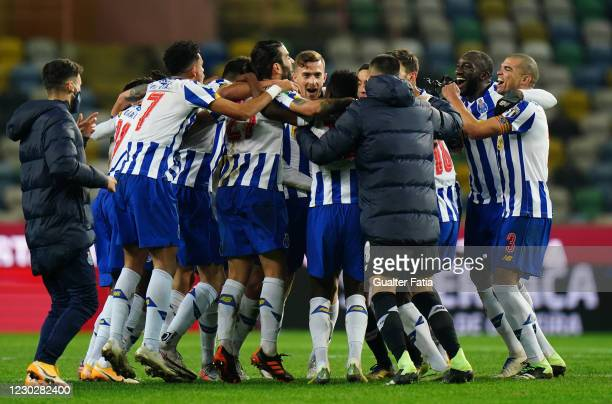 Porto players celebrate after winning the Portuguese Super Cup at the end of the Portuguese Super Cup match between FC Porto and SL Benfica at...