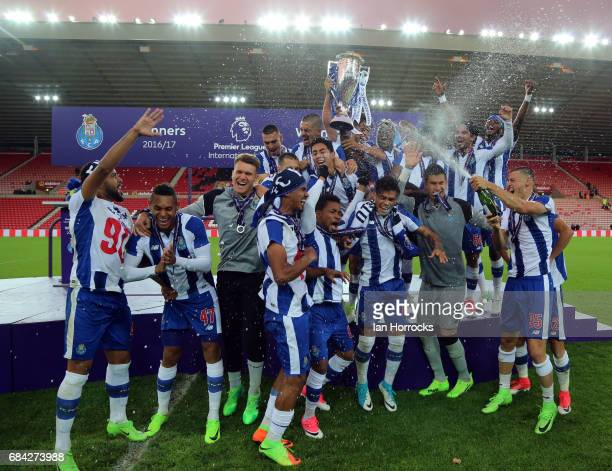Porto players celebrate winning the game during the Premier League International cup Final match between Sunderland and Porto at Stadium of Light on...
