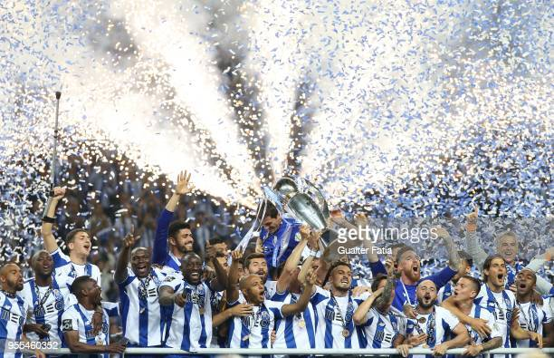 Porto players celebrate with trophy after winning the Portuguese Primeira Liga at the end of the Primeira Liga match between FC Porto and CD Feirense...