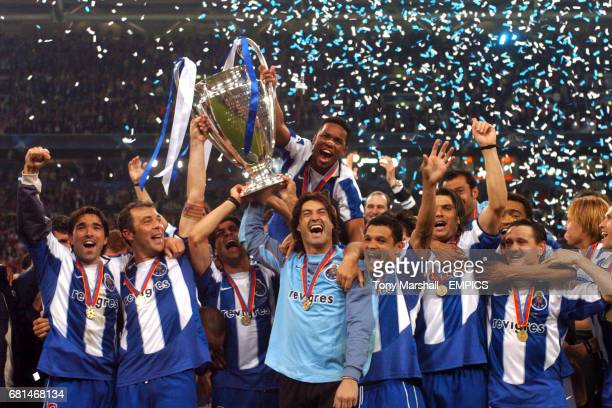 FC Porto players celebrates victory with the UEFA Champions League Trophy