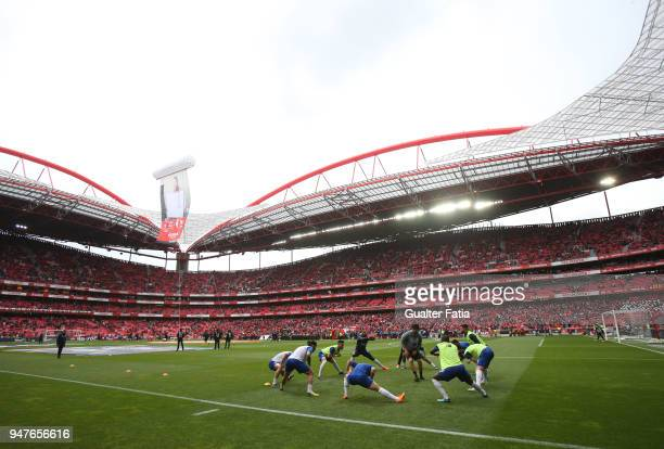 Porto players in action during warm up before the start of the Primeira Liga match between SL Benfica and FC Porto at Estadio da Luz on April 15 2018...