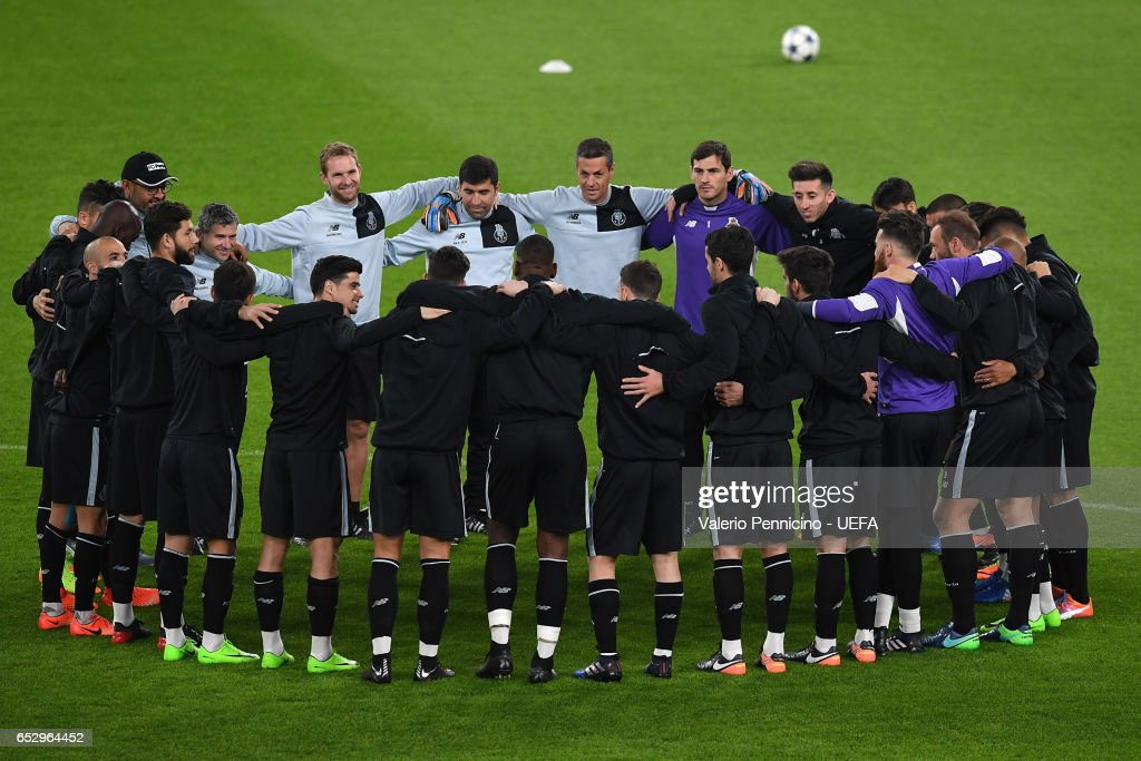 FC Porto players practice during a training session ahead of the UEFA Champions League Round of 16 second leg match between Juventus FC and FC Porto at Juventus Stadium on March 13, 2017 in Turin, Italy.