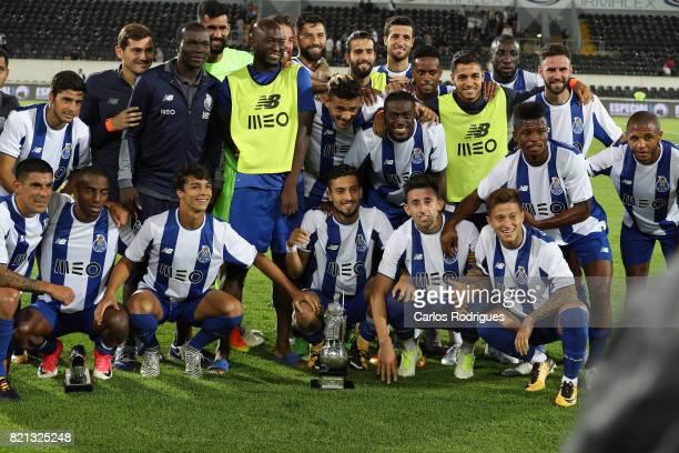 Porto Players with the Trophy during the match between Vitoria Guimaraes v FC Porto match for the Guimaraes City Trophy at Estadio da Dom Afonso...
