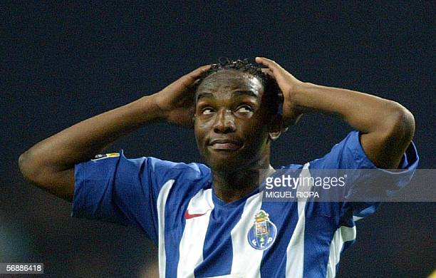 FC Porto forward South African Bennedith McCarthy appears during the Portuguese Super League football match against CS Maritimo at Dragao Stadium in...