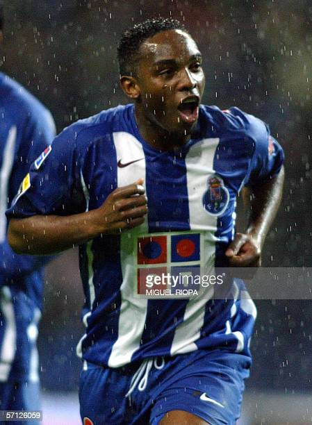 FC Porto's South African Benny McCarthy celebrates after scoring against FC Pacos Ferreira during their Portuguese Super League match at Dragao...