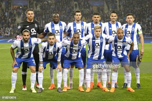 Porto team Porto's Portuguese goalkeeper Jose Sa Porto's Malian striker Moussa Marega Porto's Spanish defender Ivan Marcano Porto's Brazilian striker...