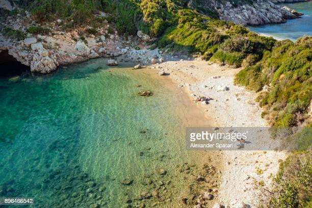 Porto Timoni beach high angle view, Corfu, Greece