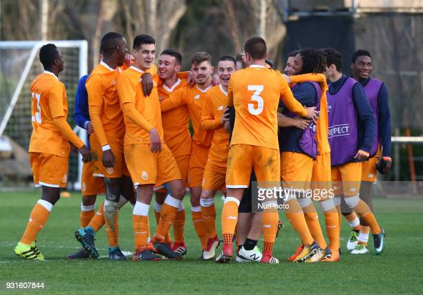 FC Porto U19s celebrates they win during UEFA Youth League Quarter Final match between Tottenham Hotspur U19s and FC Porto U19s at Tottenham Hotspur...