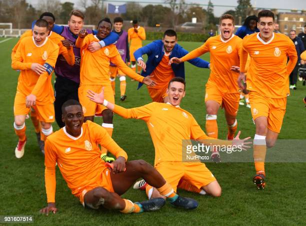 FC Porto Under 19s players celebrates they win during UEFA Youth League Quarter Final match between Tottenham Hotspur U19s and FC Porto U19s at...