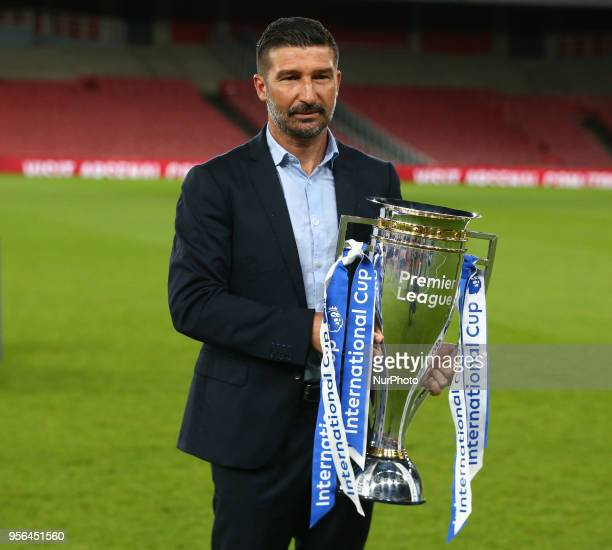 FC Porto Under 23s Coach Antonio Folha with Trophy After Premier League International Cup Final match between Arsenal Under 23 against Porto FC at...