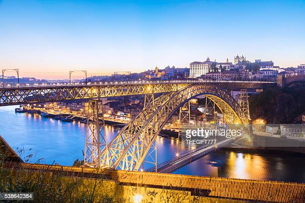 Porto with Dom Luis I bridge in the evening