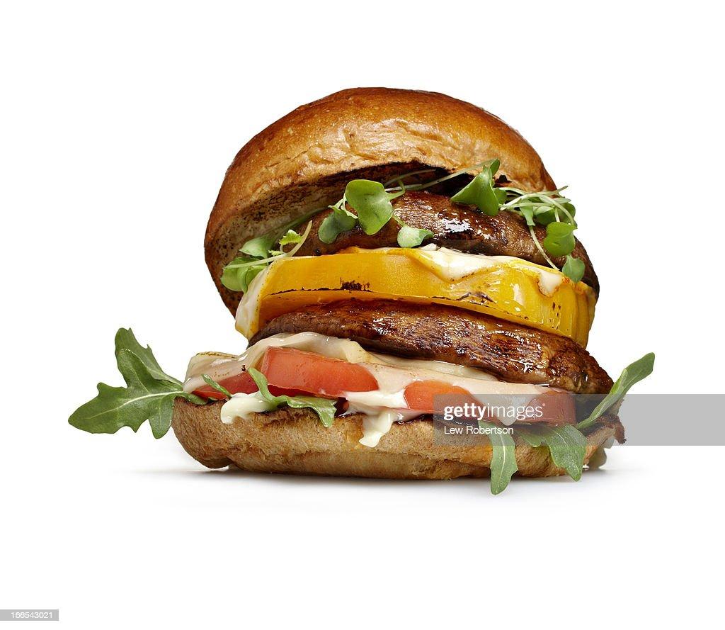 Portobello mushroom burger : Stock Photo