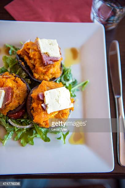 Portobello mushrooms topped with pumpkin and goats cheese at Hellyers Road a whisky distillery in Burnie Having the cleanest water in the world and...
