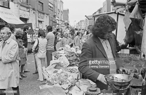 Portobello Road Market in west London, UK, 24th May 1973.