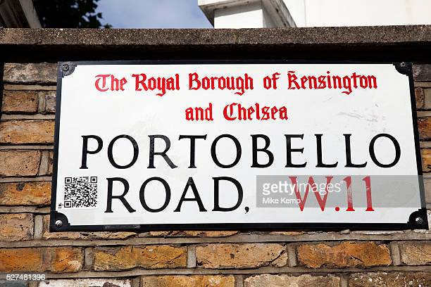 Portobello Road market street sign Notting Hill West London This famous Sunday market brings out antique stalls and food stalls