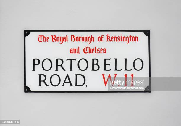 portobello road street sign in london, england, uk - ケンジントン・アンド・チェルシー区 ストックフォトと画像