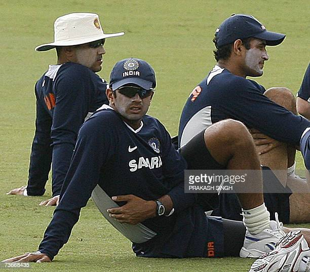 India Cricketer Rahul Dravid Virendra Sehwag and Irfan Pathan excerciseduring training session at the Queen's Park Oval stadium in the Port of Spain...