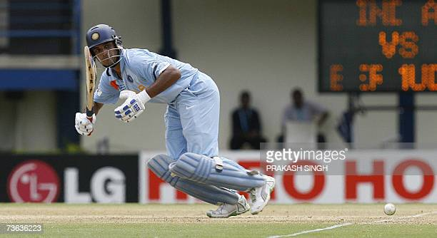 India cricketer Saurav Ganguly plays a shot against Bermuda in their Group B World Cup match at Queen's Park Oval Stadium in PortofSpain Trinidad and...
