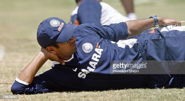 Indian cricket captain Rahul Dravid strteches during a training session at the Queen's Park Oval stadium in PortofSpain 18 March 2007 India will play...