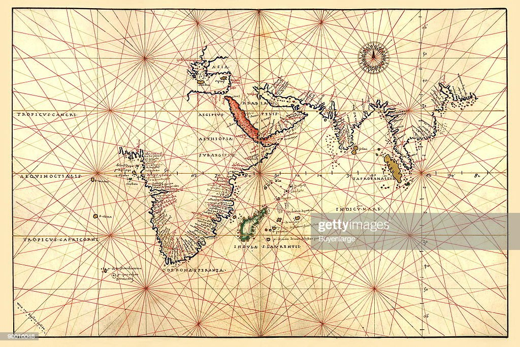 Portolan Map of Africa, the Indian Ocean and the Indian Subcontinent : News Photo