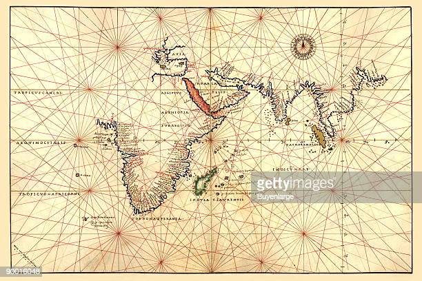 Portolan Map of Africa the Indian Ocean and the Indian Subcontinent Done in 1544 by the Italian cartographer Battista Agnese