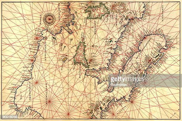 Portolan Map of Italy Sicily North Africa the Mediterranean Done in 1544 by the Italian cartographer Battista Agnese