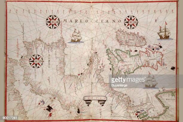 Portolan Map of Spain England Ireland France