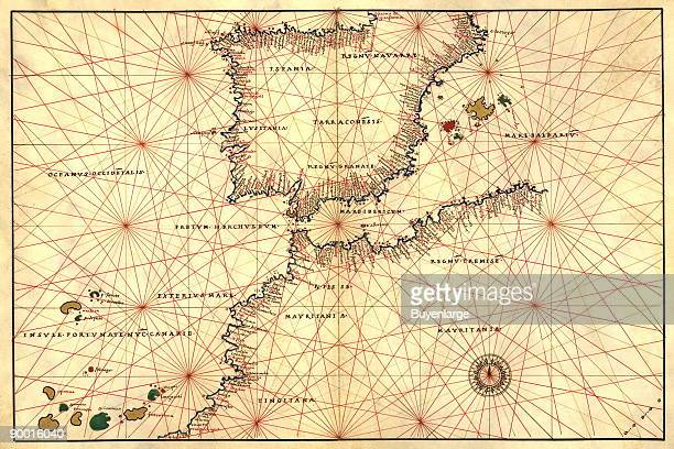 Portolan or Navigational Map of the Spain Gibraltar North Africa Done in 1544 by the Italian cartographer Battista Agnese