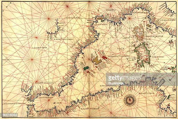 Portolan or Navigational Map of the Western Mediterranean from Gibraltar to Piedmont Sardinia Done in 1544 by the Italian cartographer Battista Agnese