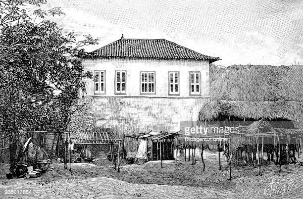 PortoNovo Hogbonu Ajashe capital of Benin and was the capital of former French Dahomey here the palace of King Tossa historical illustration woodcut...